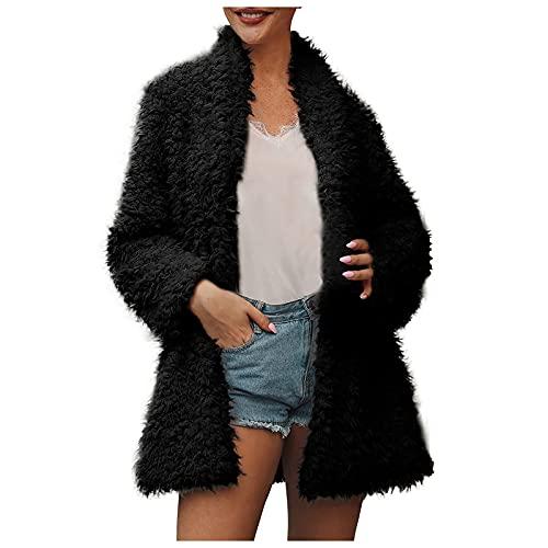 haoricu Womens Novelty Fuzzy Fleece Open Cardigans Fashion Lapel Winter Warm Solid Jacket Coats Oversized Outwear Black