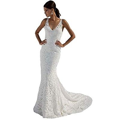 SIQINZHENG Women's Double V-Neck Bridal Gowns Lace Beach Wedding Dress White