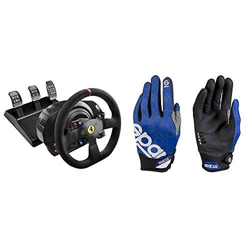 ThrustMaster T300 Ferrari Integral Alcantara Edition - Volante para PS4/PS3/PC, Force Feedback, 3 Pedales, Licencia Oficial Ferrari + Sparco 002093AZ3L Guantes, Azul, L