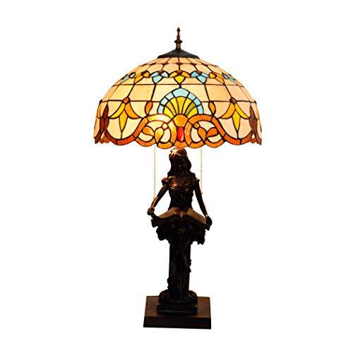 ZJRHM tafellamp, klassiek, Tiffany-stijl, 16 inch, barok, handgemaakt, uniek, van glas, bureaulamp, voor tafel, bank, woonkamer, slaapkamer
