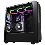 WSNBB ATX Mid-Tower Computer Case,Desktop Eatx Full-Tower Gaming Water-Cooled Main Case, ARGB Fan Case, EATX Motherboard Bit/8 12CM Fan Bit/with Projection Lamp