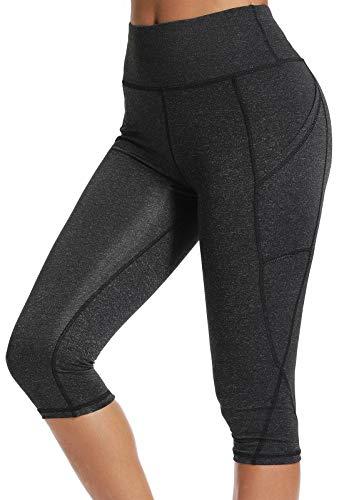 FITTOO Capri Running Donna con Tasche Pantaloni Yoga Leggins 3/4 Sportivi Leggings da Corsa Vita Alta Corti Fitness Gym Nero S