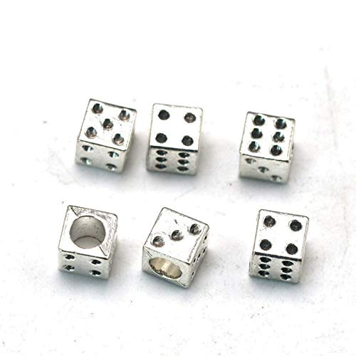DQX 30pcs Antiqued Silver Alloy 3D Dice Charms Pendants 7.2x7.2mm for Jewelry Findings Making Accessory for DIY Bracelet Necklace