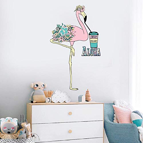 Zxasqw Leuke Coon Roze Struisvogel Drinken Drank Sticker Slaapbank Achtergrond Muurstickers Nieuwe Home Decoratie