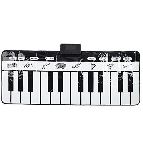 XINL Haut-Parleur intégré éducatif précoce, Tapis de Musique électronique à 24 Touches, Tapis de Jeu pour Clavier antidérapant, pour Enfants Filles garçons(Black and White Piano Blanket)