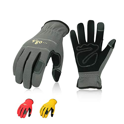 Vgo 3-Pairs Synthetic Leather Work Gloves, Multi-Purpose Light Duty Work Gloves, Breathable & High Dexterity, Touchscreen (Size L, Yellow, Red & Grey, NB7581)