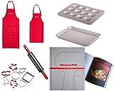 KitchenAid KG318ER Family Set Bundle - Bandeja para hornear magdalenas y cortador con rodillo (incluye libro de cocina (248 páginas)