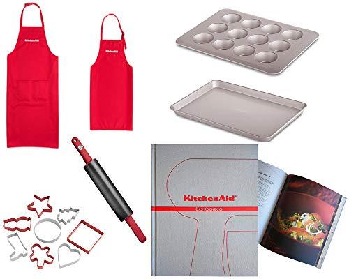 KitchenAid Family Set Bundle (KG318ER) Backblech Muffinblech Ausstechformen Teigroller inkl. Kochbuch (248 Seiten)
