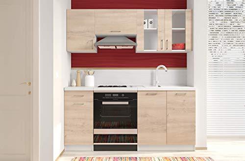 Bricozone Cucina Componibile da Incasso con Vetrina Mobili Pensili Sospesi e Mobili Base Completa Cucinino Moderno in Legno Laminato da 180 Cm (Rovere Chiaro)