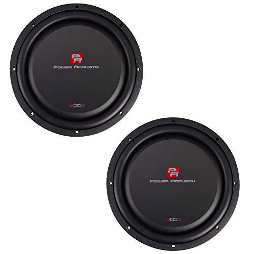 Power Acoustik 12 Inch Powerful 700 Watt RMS Shallow Mounting Depth Car/Vehicle Subwoofer Loud Speaker, Black (2 Pack)