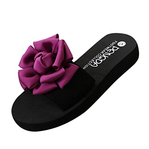 Summer Sandals,Boomboom Women Big Flower Summer Sandals Teen Girls Indoor Outdoor Beach Shoes (US 7.5, Pink)