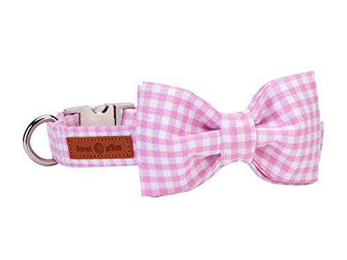 lionet paws Hundehalsband mit Fliege, Langlebiges Bequemes Baumwolle Halsband mit Metall-Klickverschluss für Hunde, Hals 40-66cm