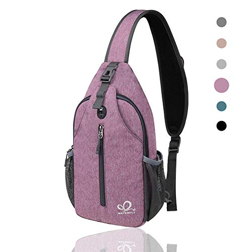 Waterfly Crossbody Sling Backpack Sling Bag Travel Hiking Chest Bag Daypack (Purple)