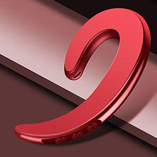 Ear Hook Wireless Earphone, Single Wireless Ear-Hook Bluetooth Headphones Bone Conduction Headphones Earphones, Non Ear Plug Headset with Mic (Red)