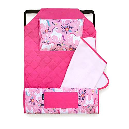 Wildkin Kids Modern Nap Mat with Pillow for Toddler Boys & Girls, Ideal for Daycare & Preschool, Features Elastic Corner Straps, Cotton Blend Materials Nap Mat for Kids, BPA-Free (Magical Unicorns)