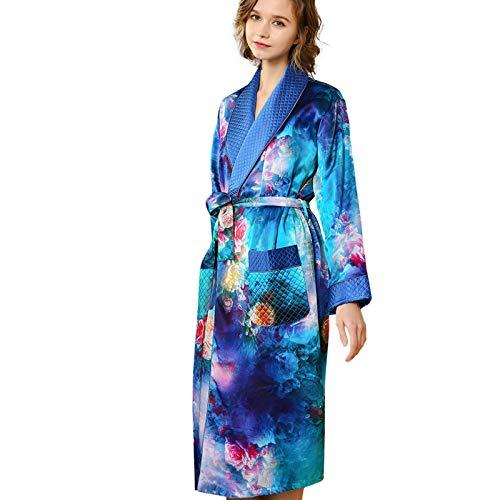 JYCDD Silk Pijamas - Albornoz de seda para mujer, doble cara, para el hogar, azul, talla M