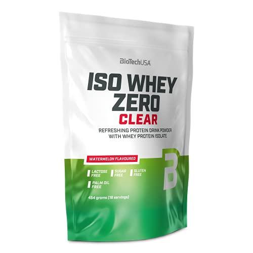 BioTechUSA Iso Whey Zero Clear, Smakowy orzeźwiający napój w proszku na bazie izolatu białek serwatkowych, bez cukru, laktozy i glutenu, 454 g, Arbuzowy