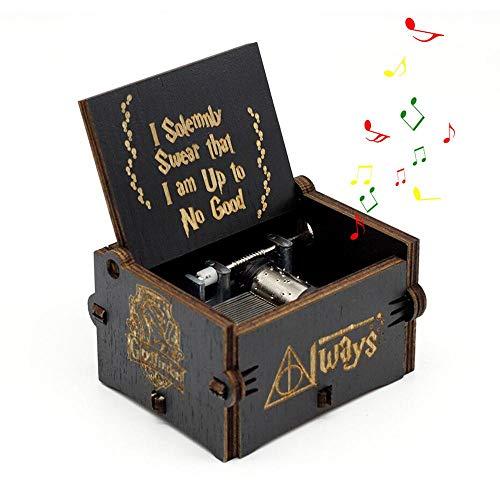 Teepao Harry Potter Music Box, manovella Carillon Musicale Scatola in Legno Intagliato a Mano in Legno Music Box, Game of Thrones Harry Potter Nero