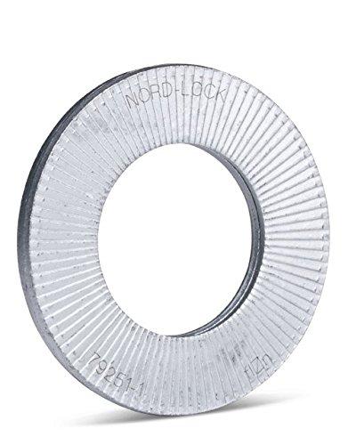 Rondelle di sicurezza a cuneo Nord-Lock in acciaio, diametro esterno allargato, NL14sp | per M14 (4 pezzi) | 15,2 mm x 30, 7 mm x 3,4 mm