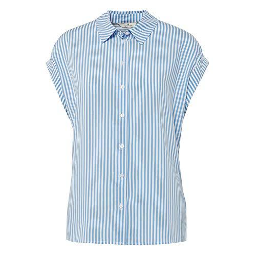 TOM TAILOR Damen Kurzarmbluse Polohemd, 22804-stripe Vertical Blue, 36