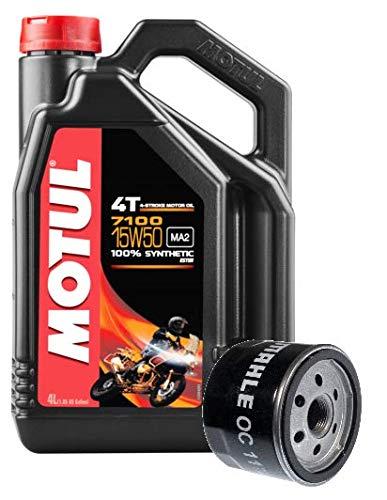 MOTUL Duo Servicio Cambio Aceite Motos 7100 4T 15W-50 Sintetico 4 litros + Filtro Aceite OC11