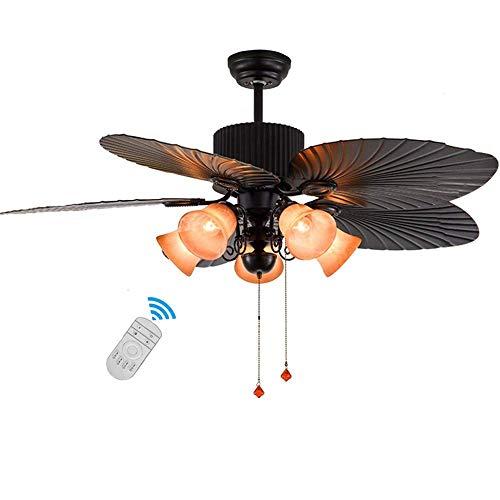 N / A Ø132cm Ventilador de Techo 5 Luces con Luces, Interruptor y Mando a Distancia, la iluminación de Techo lámpara de con Ventilador Manchado de la Vendimia y Retro ratán cuchil.