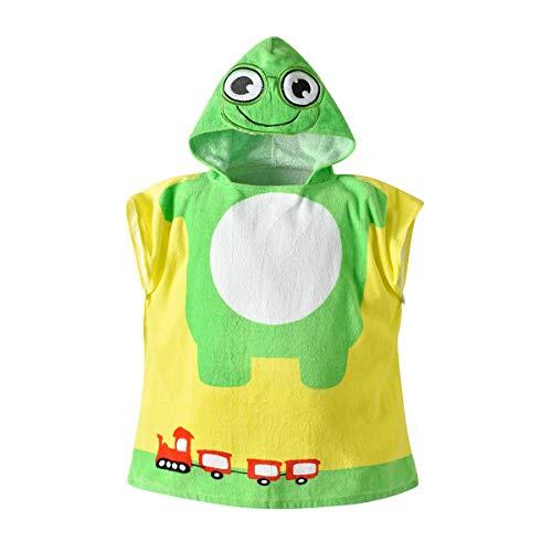 Bébés garçons Filles Capuche Peignoir Enfants Belle Couverture en Coton Absorbant Serviette de Bain (sirène) Green Frog 60 * 60cm