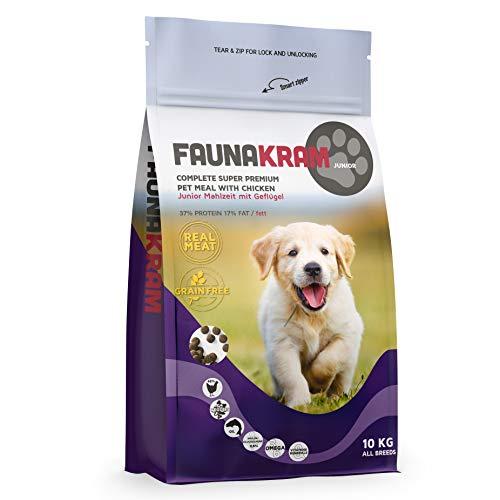 Faunakram Super Premium Junior Welpenfutter mit Geflügel – Getreidefreies Welpen Trockenfutter, 1 x 10 kg. Geeignet für heranwachsende Hunde sowie tragende und stillende Hündinnen