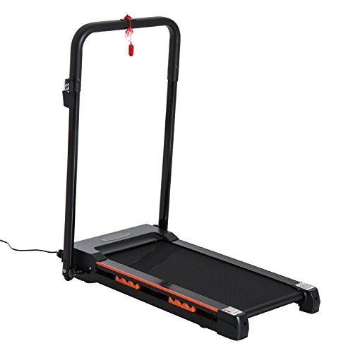 HOMCOM Tapis de Course électrique de Marche 370 W Pliable télécommande écran LCD Vitesse 1-6 Km/h Acier Noir