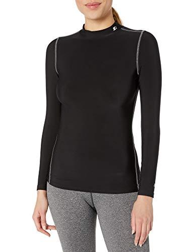 Starter Women's Long Sleeve Mock Neck Athletic Light-Compression T-Shirt, Amazon Exclusive, Black, Medium