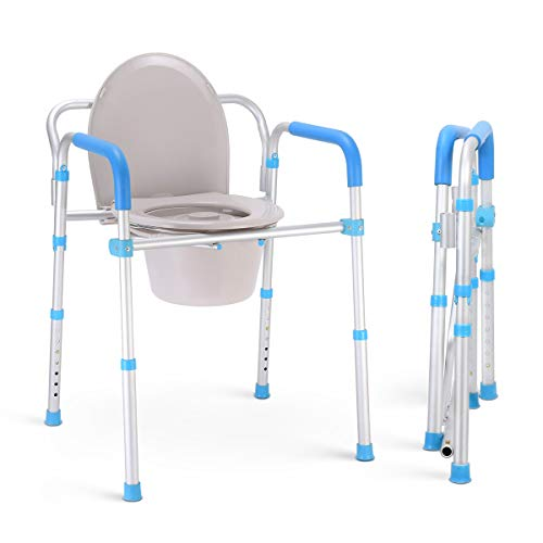 Health Line Massage Products Bedside Commode Chair  3 in 1 Aluminum Folding Portable Toilet Safety Frame Bathroom Shower Seat for Adults Handicap Seniors Elderly Adjustable Height w/Bucket/Lid