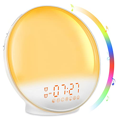 Sunrise Alarm Clock, Wake Up Light with Sunrise Simulation, Dual Alarms with FM Radio, 7 Nature Sounds & Snooze, 7 Colors Night Light, Sleep Aid Digital Alarm Clock for Bedroom Heavy Sleepers Kids