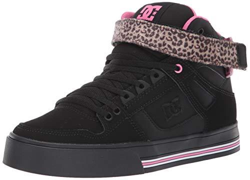 DC Women's Pure HIGH-TOP V Skate Shoe, Black/Pink/Black, 5 M US