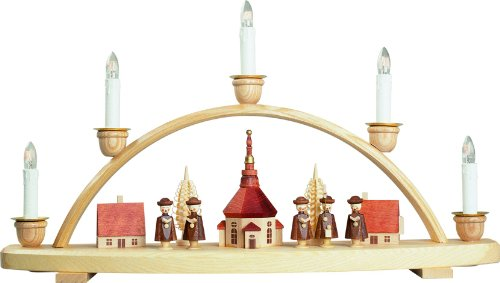 Seiffener Volkskunst German candle arch Village of Seiffen, length 50 cm / 20 inch, natural, electrically illuminated, original Erzgebirge by