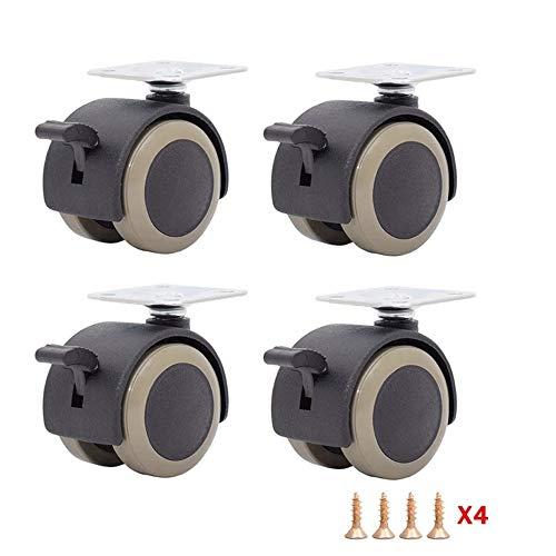 Ruedas para Silla Oficina Ruedas, Gabinete plana universal Ruedas de PVC resistentes al desgaste ruedas de plástico, Muebles, Accesorios Ruedas Ruedas en movimiento, 1,5 pulgadas de 38 * 38 mm (dos mo