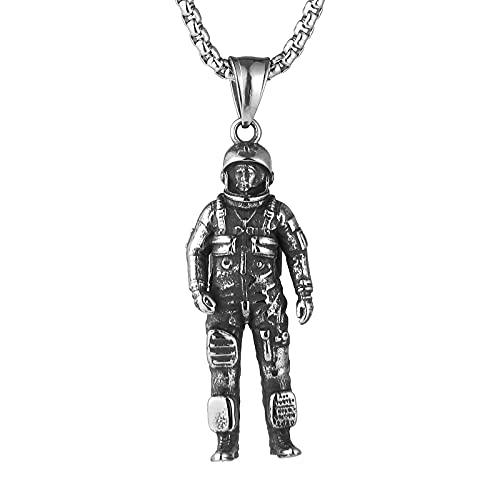 QIBANG Collar de Hiphop, Diversión 3D Goth Personalizada de Acero Inoxidable Astronauta Colgante Colgante Spaceman 22 + Cadena de 2 Pulgadas