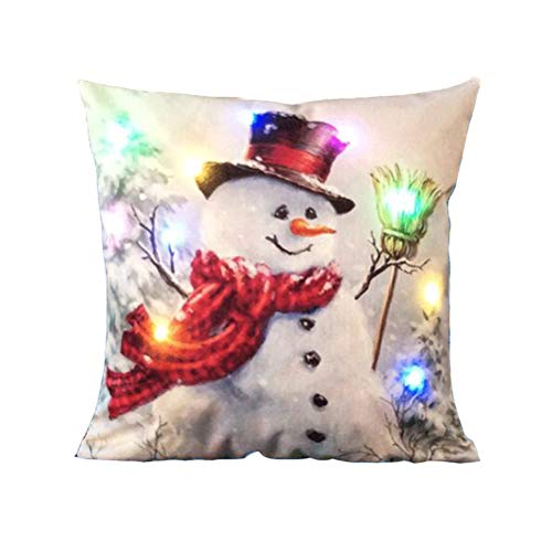 vorcool LED Navidad Themed Cojín decorativo Caso almohada cojín de lino Festival Protección para dormitorio salón decoración