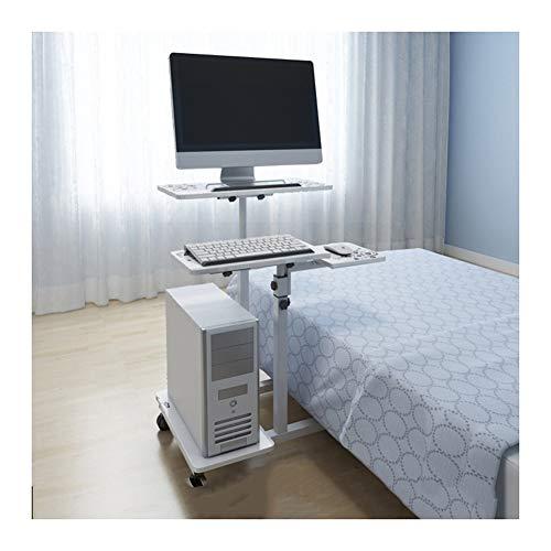 Qgg Beistelltisch mit Rollen, höhenverstellbar, Laptoptisch, Stehtisch, Computertisch, auf Rollen (Farbe A)