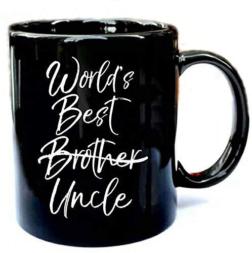 N\A El Mejor tío del Mundo Anuncio de Embarazo Hermano - Regalo Divertido Taza de cerámica Negra Regalo Taza de café