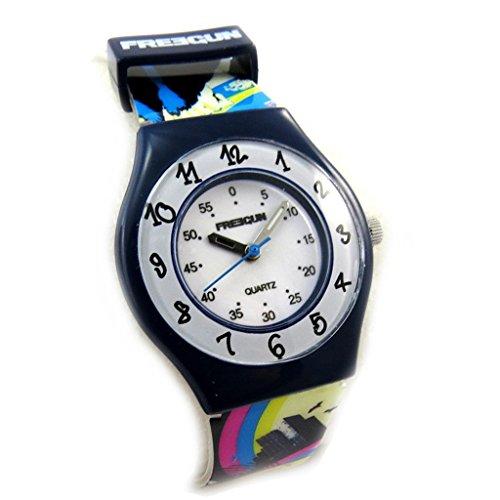Freegun [N3835] - Orologio da polso 'french touch' 'Freegun' giallo futurista blu (sottile).
