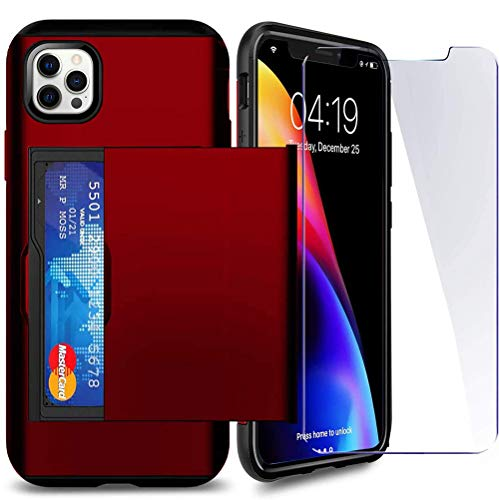 SUPBEC Compatible for iPhone 12 Pro Max Case with Card Holder and[ Screen Protector Tempered Glass x2Pcs][ Protective Series] Shockproof Silicone for iPhone 12 ProMax Wallet Case Cover-Red-6.7""