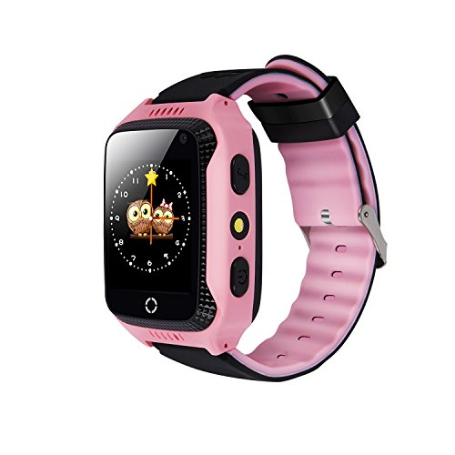 Yongkaida Smart Watch Kids Smartwatch GPS Tracker SOS Call Anti-lost Finder Remote Monitor SIM Card Touch Screen Camera Flashlight for Android and IOS Y22 Pink