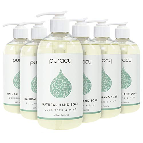 Puracy Liquid Hand Soap, Cucumber & Mint, Sulfate-Free Gel Natural Hand Wash, 12 Ounce (6-Pack)