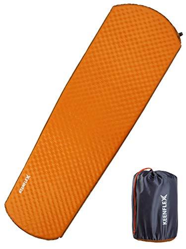 KeenFlex Esterilla Camping Auto Inflable de 4 cm Grosor Resistente al Agua colchón de Camping para excursiones, mochileros, Exteriores (Naranja)