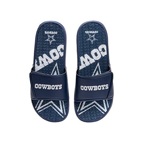 FOCO NFL Dallas Cowboys Mens Sport Shower Gel Slide Flip Flop SandalsSport Shower Gel Slide Flip Flop Sandals, Wordmark, Small (7-8) (FFSSNFCBBLGGEL)