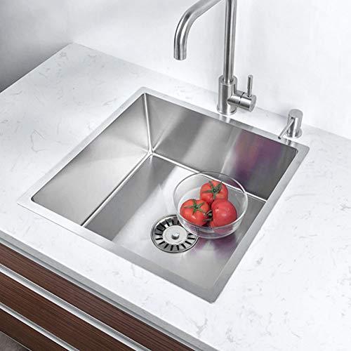 Küchenspüle Edelstahl Waschbecken Küche Spülbecken Edelstahlspüle Eine Schüssel Handwaschbecken Unterschränke Wasche Becken Eckige Einbauspüle mit Siphons Küchenablauf 44 cm x 44 cm x 21 cm