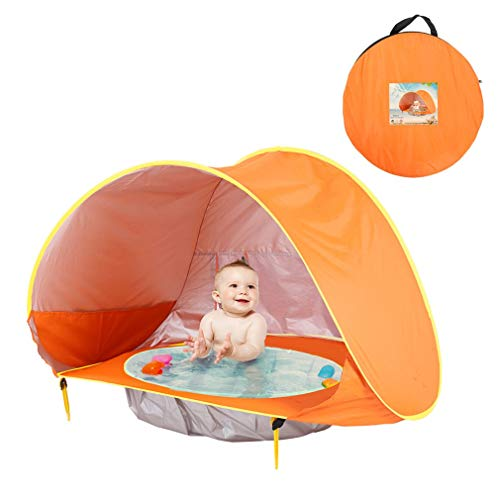 Mulple Pop Up Baby Beach Tent, Portable Kiddies Shade Pool Tent 50 SPF UV Protection Sun Shelter Canopy for Infant Indoor and Outdoor Use (orange)
