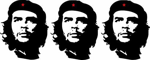 Etaia - 3 x Mini Aufkleber Che Guevara roter Stern Revolution Kuba Cuba Sticker Auto Motorrad Fahrrad Bike auch für Dampfer E-Zigarette Sisha
