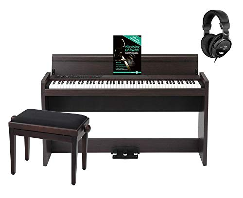Korg LP-380 RW Digitalpiano Set (elegantes Digitalpiano mit 88 RH3-Tasten, 3 Pedale & 2x 22 Watt Verstärkersystem im stylischen Homeset inkl. passender Pianobank, Kopfhörer & Klavierschule) Rosenholz
