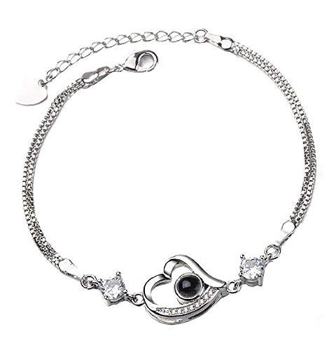 Lovelegis Damenarmband - Armband für Frauen - Damen Armband - Herzarmband- Herz - Projektor - Objektiv - Projekte - Satz - 100 Verschiedene sprachen - Silberne Farbe